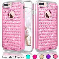 Glitter Bling Hybrid Rubber Shockproof Phone Hard Case Cover for iPhone 8 Plus
