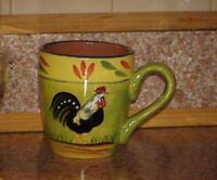 "Baum Brothers PROVENCE ROOSTER COLLECTION Cup Handled Folk Art Roosters 4.25"" #1"