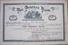 1896 Stock Certificate: 'The Peoples Bank of McKeesport, PA' Pennsylvania Penn