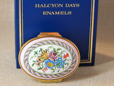 Halcyon Days Hinged Enamel Over Copper Pink Trinket box, Wildflowers - Signed Sf