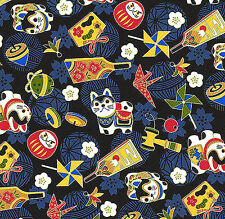 JAPANESE TRADITIONAL TOYS:  Black Asian Quilt Fabric - 1/2 Yd.