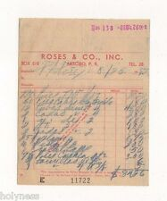 VINTAGE INVOICE / ROSES & CO / ARECIBO PUERTO RICO / 1952 #1 / RARE