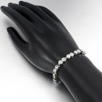 27.5 Carat Simulated White Crystal Created 14K White Gold Plated Tennis Bracelet