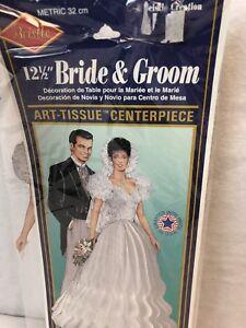 Beistle Bride & Groom Art-Tissue Centerpiece 1994 Honey comb cake topper New