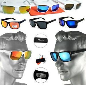 Rennec Sonnenbrille Herren Schwarz Matt Rechteckig Verspiegelt Markenbrille R14R