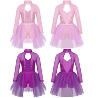 Kids Girls Sequined Ballet Dance Leotards Dress Long Sleeves Dancewear Unitards