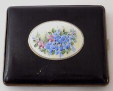 Vintage Black Metal Cigarette Case Set w' Ceramic Oval Hand Painted Flowers B Co