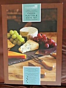 MASTERCLASS Cheese Platter & Three Knife Set on Contemporary SlateBNIB