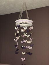 Large,  00006000 Handmade Butterfly Hanging Mobile-Lavender, Purple & White-Nursery Decor
