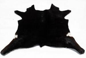 """Rare Cowhide Rugs Calf Hide Cow Skin Rug (27""""x31"""") Black Dark Brown White CH8528"""