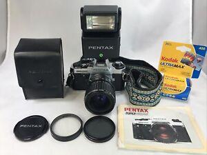 Pentax Super Program 35mm SLR camera w/ 70mm Pentax-A Zoom Lens Flash + *TESTED*
