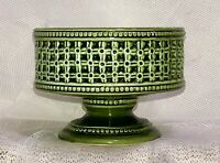 "Sorrento by Brody 5"" Green Pottery Pedestal Planter Succulent Pot N-316 MCM 50s"