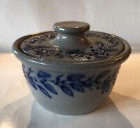 Salmon Falls Pottery Salt Glazed Butter Bowl Cover Blueberry Vine -Hard To Find!