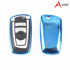Blue TPU Remote Smart Key Cover Fob Case Shell For BMW 1 3 5 6 7 Series X3 X5