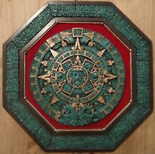 Mayan Aztec Calendar Medallion Malachite Composite Hexagon Wall Art Vintage