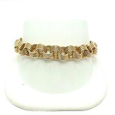 """14K Gold 10mm Quadruple Wire Link Magnetic Clasp Charm 7.5"""" Bracelet 13 grams"""