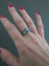 Vintage Topaz Silver Modernist Ring