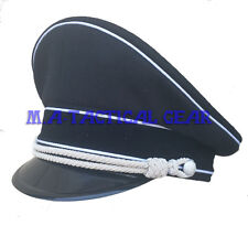 WW2 WWII COLLECTIBLE GERMAN OFFICER WOOL HAT VISOR BRIMMED CAP WHITE PIPE