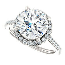 Round Cut 2.46 Ct Diamond Solitaire Ring 14k Solid White Gold Ring Size N M O J