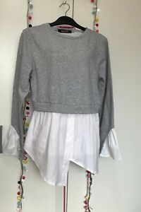 Misspap Made In Italy S/M 10/12 Grey & White Sweat Shirt & Cotton 2 In 1 Top