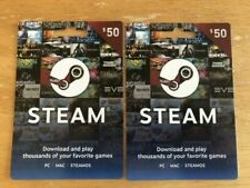 TWO $50 STEAM GIFT CARDS,PHYSICAL DELIVERY