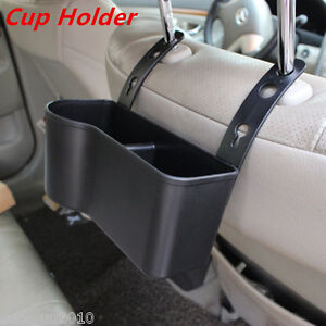 Headrest Passenger  Seat Back Mount Organizer Cup Holder/Storage Box Black New
