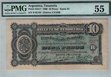 ARGENTINA  NOTE SANTA FE  $10 1890  PICK .S 2217 PMG  AU 55