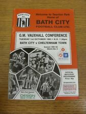01/10/1991 Bath City v Cheltenham Town  . If this item has any faults they shoul