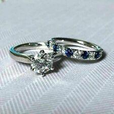 2.70Ct Round Cut White Diamond Engagement Wedding Ring Set in 14K White Gold