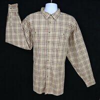 Wrangler Casual Button Up Shirt Mens Size 2XLT Brown Plaid 100% Cotton 2 Pockets