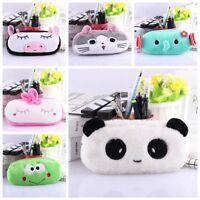 Panda Cat Cosmetic Pouch Cartoon Zipper Pocket Makeup Bag Plush Pencil Case