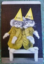 REAL PHOTO DRESSED CATS CLOTHES DUNCE HATS-HARRY FREES-VINTAGE SWAP PLAYING CARD