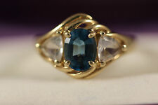 10K SOLID YELLOW GOLD 2CTW LONDON BLUE TOPAZ WHITE TOPAZ RING 10KT SZ 6.5 JED
