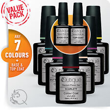 QUTIQUE Gel Nail Polish Colour Value Pack/Set/Kit-ANY 7 Colours inc Base & Top