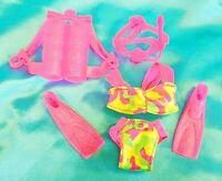 Lot Of BARBIE SCUBA GEAR BIKINI SWIMSUIT PINK GLITTERY SNORKLE Fashion Doll Toys