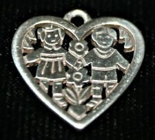 """James Avery RETIRED Sterling Silver """"Love Is"""" Charm Boy & Girl Heart"""