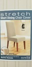 Sure Fit Pinstripe Ivory Stretch Short Dining Chair Slip Cover NIP