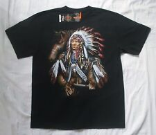 Native American Chief and Horse XL black t-shirt