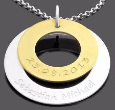 Bicolor Kette, Damen Collier, Namenskette silber gold, Kette Gravur, Juwelier