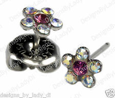 Rainbow Crystal Daisy Flower Silver Studs Ear Piercing Earrings Studex System 75