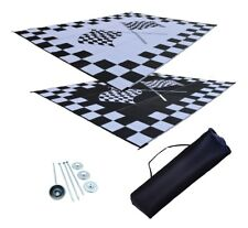 RV Patio Mat RV Awning Mat Camping Mat Finish Line Racing Flags 9x18