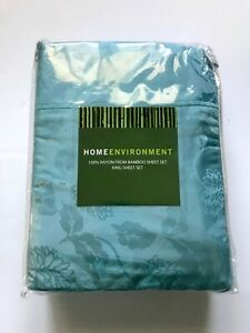 Home Environment 100% Rayon from Bamboo KING Sheet Set Floral Teal Blue NEW
