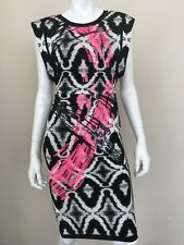 HERVE LEGER NWT Black/White/Pink Sean Sequin Ikat Jacquard Wave Large Dress NEW