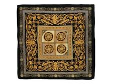 "Large Square Silk Scarf 36x36"" (90x90cm) Black and Gold Theme SZD009"