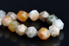 """5-6MM Multicolor Bamboo Agate Star Cut Faceted Grade AAA Natural Loose Beads 7"""""""