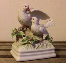 """Vintage Gorham Dove Couple """"Theme From Love Story"""" Musical Figurine Art Pottery"""