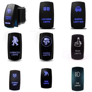 1x 12V 20A Car Bar 5Pin Push Rocker Toggle Switch Blue LED Light Car Accessories