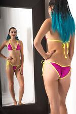 Glitter Holographic scrunch butt bikini princess top sexy FUCHSIA MINI-DOT S/M