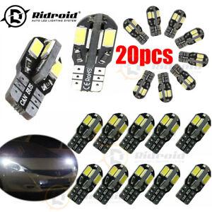 20PCS 501 Led White Side Light Bulbs W5W T10 Sidelight Bulb 8 Smd Car DC12V
