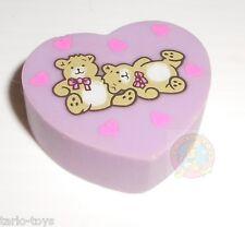 TEDDY BEAR heart purple 80s Japan eraser, rubber, gomma, radiergummi,gommina